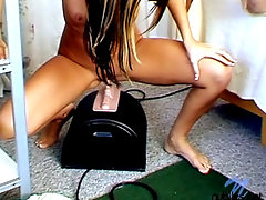 Cute teenie slowly riding on sybian and watch her bouncevideo
