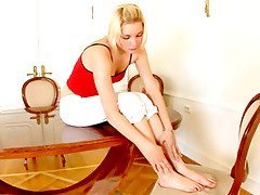Blonde Nubile Val fingers herself on the dining room tablevideo