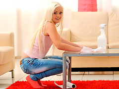 Slender blonde babysitter gets horny while cleaning housevideo