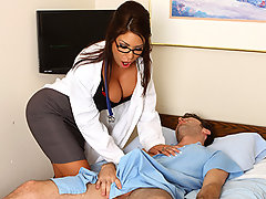 Patient James has been nothing but trouble for nurse Mason. He is constantly hitting on her and grabbing her tits and ass. Just before he is scheduled for release, he devises a plan to that will finally get Mason to fuck him. He unhooks himself from the cardiac monitor and plays dead. Mason rushes in and gives him what he wants to revive him.video
