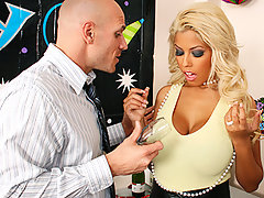 Bridgette is stuck at work on New Years Eve because she needs to finish her work to earn a promotion. Johnny, who is also working late over hears her talking on the phone telling her friend how she has to stay late and will not be able to show off her new dress and get laid. So Johnny pulls out a bottle of champagne from his desk and celebrates a brand New Year with a bang.video