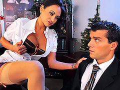 Is Christmas eve and Ramon is about to go home to celebrate. Claudia, his boss shows up with more work for him to finish right away. Ramon is not happy but all this is just a scam to pressure him. Claudia starts to ask very intimate questions about his sex life. Felling uncomfortable, Ramon tries to leave but she threatens him and ask him to fuck the shit out of her or loose his job.video