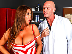 Kianna shows up to the Pharmacy after hours hoping to get her prescription refilled, but only Johnny the janitor is there. When he sees her desperation and her big tits he decides to pretend he\'s a doctor so he can convince her to take a physical. It isn\'t long before he works his way down from her enormous boobs to her wet pussy and of course, the most important: the gag reflex test!video
