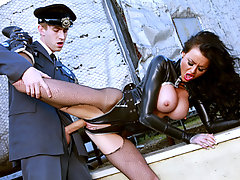 Stacey tries to get into a museum to steal the big diamond, so she is destroying everything on her way, until she gets caught by a guard, so the only way to escape is distracting him sexually.video