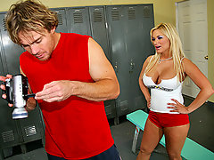 Justin hides a camera in the girls locker room to tape Shyla while she changes. Shyla catches the pervert and threatens to report him. When Justin tells her he plans to make millions by putting the footage online, Shyla becomes interested in sharing the profits with him. Justin doesn't agree with the idea so Shyla fucks him to make him change his mind.video