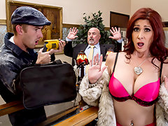 You can't expect a little thing like a robbery to get in the way of Tiffany Mynx's fun. She's at the store trying to get her thrills in the old-fashioned way, charging all kinds of jewelry and diamonds to her husband's account. But seeing that dashing thief Danny smash things up really brings out the bad girl in her, especially when he offers to give her a pearl necklace. Check him out rubbing those pearls on her clit, then throwing his fat cock in her juicy Milf asshole.video