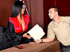 Judge Rio is having a tough day at the courthouse dealing with a ridiculous case between a slut and her roommate. So she orders the court to take a 30 minute break to relief some stress. What better way to take a load off than fuckin\\\' the bailiff in the judge\\\'s chamber?video
