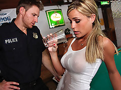 McKenzee and her boyfriend are working together at the local bar when a prick cop shows up. Her boyfriend being in trouble with the law has to quickly hide in the back. McKenzee is forced to do whatever she can to distract the prick from catching her boyfriend.video