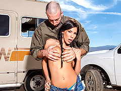 What are Mr. WhiteCock and his partner cookin' in their desert RV? Their blue boner pills are getting them a lot of attention, the kind of heat that leaves them stranded in the desert. Luckily Stinkman's smokin' hot friend Aleksa Nicole comes to the rescue. This Latina slut loves bad guys, and gets off on the danger. Before she drove them back into town, Aleksa wanted cash up front, and a cock in her ass.video