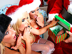 It was an all blonde pornstar XXXmas and three of the hottest babes got together to celebrate. Nikki, Lichelle and Brooke opened their gifts hoping for something in particular: A BIG COCK!! They soon found out all they were getting for christmas this year was some lingerie and christmas candy. They got disappointed and thought Santa had forgotten them, but Santa had a surprise for them. A special gift that would save these three BIG COCK CRAVING pornstars\\\' XXXmas...video