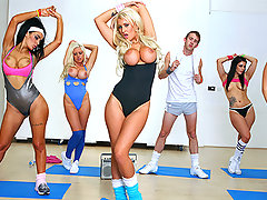Brooklyn teaches an aerobics class. Danny wants to get in shape. When Brooklyn spots Danny's massive cock hanging out of his shorts she decides Danny just might need a little one on one intensive instruction.video