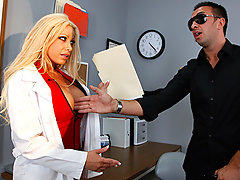 Optometrist Gina receives a patient who claims his job is causing him to go blind. She tries some extra special tests to determine that he\\\'s only faking his blindness in order to get workman\\\'s compensation. But Gina is willing to help him out with his little scam if he helps her out with a dose of deep dicking!video