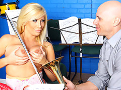 Tasha spends hours trying to play the trombone for music class but unfortunately, she absolutely sucks at it. As Mr. Sins guides her through the preps for blowing the shiny piece, impatient as Tasha is, she begins to lube Mr. Sins\' shaft. Apparently her talent lies in another instrument.video