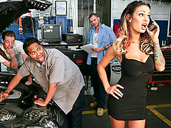Another typical day in the garage fixing cars becomes an experience mechanic Scott Nails will never forget! When Angelina Valentine drives in to get her car checked the workers are blown away! Their favorite pornstar is sitting right in front of them and they cant help but attempt to pick her up. They soon find out that all she really wants is the guy with the biggest cock. It's time to take a lunch break and get a little greasy!video