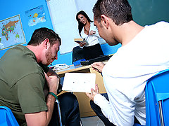 Veronica was getting very mad at the behavior of Jordan, Keiran and Joey. So she decided to let the rest of the class leave and teach theses boys a real lesson in fucking.They didn\'t seem to mind staying back for a while. I mean they all got to fuck the shit out of the hottest teacher at brazzers high school.video