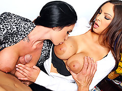 Danni and Emmanuelle are The B.O.O.B.S., the most efficient and ruthless corporate downsizers in the world. They weed out weak male employees using their biggest assets: their massive tits. Show any sign of weakness and you\'ll lose your job. Show just the right amount of confidence, however, and you\'ll not only keep your job, you might also get the fuck of a lifetime with two of the hottest sluts in the corporate world.video