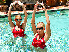 Synchronized swimming is a modern art that became popular at the turn of the century, it has now made its way into porn as Britney Brooks, the nations top porn-swimmer will describe it, it's the best way to get wet and when a cock is around, making it cum as you cum on it is probably as synchronized of anything as you can bevideo