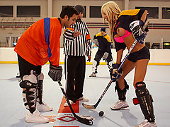 Puma Swede, aka Tits, is one rough feline at floor hockey!!! When she gets aggravated, better watch out because she uses full power to throw your ass on the floor!! Keiran will teach her a thing or two about getting roughed up though!!!video