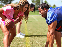 Carlos is playing football against another team of big titted chicks and is having problems concentrating on his game. As much as he tries to ignore them, the sight of big titties leaves him vulnerable to being tit tackled.video