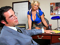 Abbey Brooks goes to see Mr. Dera to talk about her student fees situation. All she wants is to get him not to charge her the late fees. So she\\\'s gonna offer him a payment method he won\\\'t be able to refuse...video