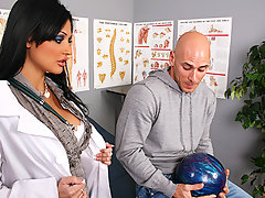 Johnny has a bowling ball stuck on his cock and to much surprise his Doctor finds the only way to keep his cock intact without any compromise is to get him so hard it shoots right off his cock. The final step is to make sure his cock didn\'t suffer any side effects and all it takes is a good blowjob and a tight warm pussy.video