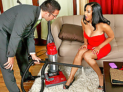 Isis is having a crisis when it comes to her vacuum. The damn thing has lost suction and she can\'t get it to function. When she calls her friend to borrow her suck machine, she gets referred to the BrazVac company. Recalling their novel infomercials, she decides to have an in-home demonstration of this BrazVac device. Salesman Keiran Lee sells her the vacuum with gusto. The vacuum sucks so much that it inhales Isis\' dress! In return, Isis decides to inhale Keiran\'s cock! Then he fucks her!video