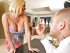It\'s Scott Nails\' Birthday and his beautiful girlfriend Maya Devine wants to do something special for him. Taking advantage of her sorroundings, she decides to convince the maid, Tori Black to join in on the fun. They give Scott the best gift ever, 2 pairs of tits and 6 holes.video