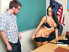 Mikayla was substituting a class when she realized two of her students were being down right mean to another student, so she decided to teach them a lesson by fucking the student they were picking on. You should of seen their faces when she grabbed his hand and made him grab her tits, these guys left the class in a hurry to not get too upset over their loss...video