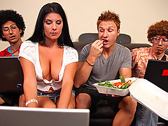 Erin joins her 2 geeky friends playing games...but little does she know they\'re fantasizing about her and talking behind her back about how she\'s so hot! Suddenly older brother Levi shows up and acts like a big jerky cock, making fun of everyone, and eventually walking off with one of the boys\' computers. Erin chases after him in anger to give him shit, but he talks her into sucking and fucking him.video