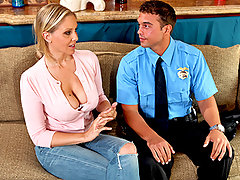 Julia\\\'s son is brought home one day by Officer Reed. It appears that once again he\\\'s gotten himself in trouble. Julia tries to placate the officer the best way she knows how. By spreading her legs and offering him a slice of her poon-tang pie to go along with his coffee.video