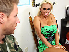 Holly\'s son is about to be shipped out to combat and she is afraid for him. She pays a visit to the recruitment officer to try to convince him not to send her son yet. The officer is stressed with work and appreciates Holly\'s massage offer, which escalates in sucking her big tits and fucking her wet pussy.video