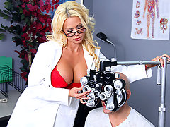 Nikita, a sexy optometrist, is crushing hard on one of her clients. When she learns he's coming in for an eye exam, she decides to fuck with him a little - until he actually fucks her.video