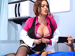 "Day after day, Johnny's been filming his sexy colleague Dr. Krissy Lynn on her breaks. The money's piling in for these short, sexy clips of ""amateur"" nudity. One day, Krissy catches him red-handed with his camera angling in for a nasty upskirt video and gets so angry! But once this slutty Milf finds out how many internet-followers want to see her naked, Krissy decides to go all the way with this one. We'll see how the fans like watching Dr. Lynn's striptease (on purpose this time!), and then wetting Johnny's dick like a pro.video"