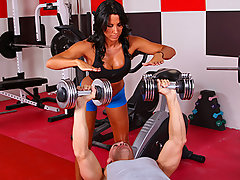 Lezley Zen\'s working as a personal trainer and she\'s got a new client, but she doesn\'t know which of the two guys it is in the gym. Johnny Sins tricks the other guy into leaving the gym so he\'s alone for some one on one time with Lezley. First Lezley shows him some proper ways to toning some muscles, then later Johnny shows Lezley some hot work outs that gets her sweating!video