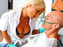 Sexy Dentist, Dr.Doll, comes in to take care of her patient Johnny. But her mind is easily distracted and she until she notices that he has a cavity and needs work done... Getting scared when she wants to start drilling in his mouth, Johnny tries to leave! But Dr.Doll subdues him with laughing gas and letting him do the drilling.video