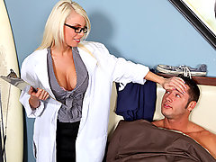 Britney is sound asleep when she receives a call from one of her regular patience. When she arrives at his house she checks if he has been taking his medicine because she can\\\'t identify what is keeping him in his semi catatonic state. She notices that he has positive reactions when her boobs are in his range of vision, so she decides to make him view them a lot closer so he can feel better.video
