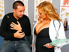 Keiran sees Dr. Stylez to take a look at his itchy skin. Dr. Stylez takes a look at his skin and tries a couple of ointments on his chest, None of the ointment seems to work so Dr. Stylez tries an experimental treatment: rubbing her big, hot PhD titties on the affected area. Turns out that Keiran\'s got another itch that needs some scratchin\'!video