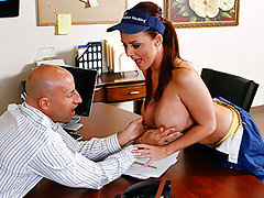Sophie Dee has decided to take it upon herself to raise office morale, She\'s on window cleaning duty and sees that Barry is stressed about work. So she removes her shirt and gives him a show as she cleans the outside windows with her wet tits. Barry cant help it as he calls her in and asks what he can do to return the favor. All she wants is his corporate cock between her boobs and in her pussy.video
