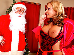 Santa Clause is extremely mad that Nikki ate all the milk and cookies that were left out for him. So he\\\'s going to give her family coal for Christmas. Nikki has to correct the situation by persuading Santa with a little help from her big titties.video