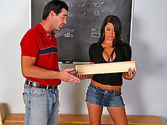 Mr. Dera is giving Savannah one last chance to pass her woodwork class. Her last assignment is to make an object which can be used at home. Only one thing comes to her mind: a big wooden cock! He'll not be amused by this and will show her that a real cock is way better!video