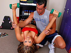Billy is training Trina to stretch, workout biceps and chest, and how to do proper squats. She always does the exercises but somehow her tits and ass keep teasing Billy. Billy is going nuts and eventually just grabs her tits and then at first she????????s shocked but then he says it????????s part of the training and then being not so bright she accepts this and then he gives her a REAL hardcore training exercise!video