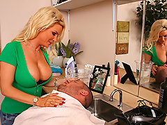 Scott goes to see Diamond at her new hair salon that she set up at her house. While cutting his hair Diamond can\'t stop hitting on him and putting her gigantic tits in his face so Scott decides to Undress the Hair Dresser.video