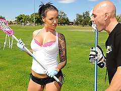 Emily Parker is a mean lacrosse player and today she is giving Johnny\'s Sins a private lesson. Johnny cannot take his eyes off Emily\'s beautiful breast which totally messes his game up. After the lesson Emily sneaks into the shower with Johnny to give him a reward for all the hard work.video