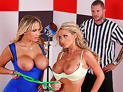 Nikki Benz & Alanah Rae have faced off many times before in the ring. Today is the day they put their experiences aside and fight for what they are really longing for. The sad news is there is some confusion about the victor, therefore the ref decides that the girls will play a new game Tit lash whoever uses their tits to make Scott cum, Wins!video
