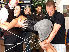 "Today is the Brazzers team building day! Activities have been planned out for the employees in order to get to know and trust one another. While playing \""The Spider Web\\\"" Aletta gets caught up in the ropes and cant get out! As the employees move onto the next event Scott cuts through the web and frees Aletta. As we all know, hero\\\'s must be rewarded! Aletta, being the sexiest babe on earth, treats Scott to some real fuckin\\\' Brazzers style team building. Letting him stick his cock in every one of her hot sexy fuck holes! Damn!video"
