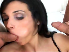 Whorish slut gets gangbanged by three cocks in here video