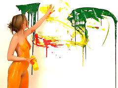 I always thought it`d be so much fun to be a painter! A naked painter! Covering my tight toned body with the cool wet paint is such a turn on especially when my titties and my pussy get covered in it!video