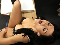 Enticing brunette school babe Kendall Karson gets a awesome fuck from her hard cock classmate on top of their teachers deskvideo