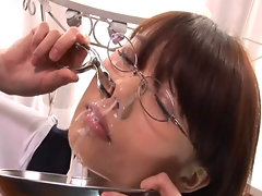 Ibuki Haruhi receives bukkake cum facials while tied up and with ball gag and nose clip.video