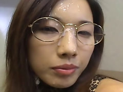 Mikami Syouko lets guys come up to her and cum in her mouth as she collects the warm cum in a glass for her to spread all over her chest.video